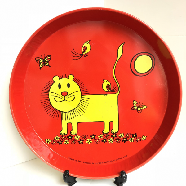 Retro 1960s Red Drinks Tray Designed by Peter Kneebone